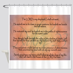 Psalm 23 Orange Script Shower Curtain