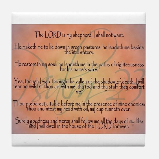 Psalm 23 Orange Script Tile Coaster