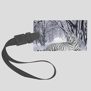 White Bengal Tiger Large Luggage Tag