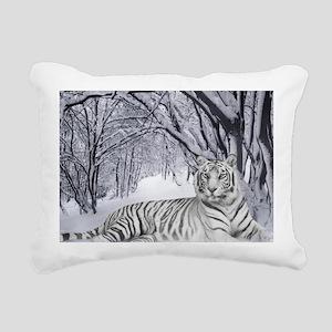 White Bengal Tiger Rectangular Canvas Pillow