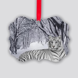 White Bengal Tiger Picture Ornament