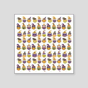 "Funny Halloween Owls Square Sticker 3"" x 3"""