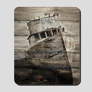 rustic boat nautical barn wood  Mousepad