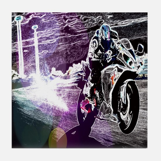 modern sporty motocycle racer Tile Coaster