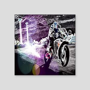 "modern sporty motocycle rac Square Sticker 3"" x 3"""