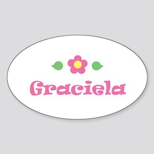 "Pink Daisy - ""Graciela"" Oval Sticker"