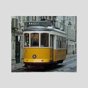 Tramway at Lisboa Throw Blanket