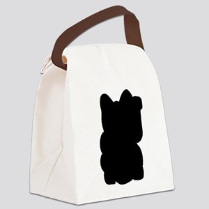 Luckiest Cat in Black Canvas Lunch Bag