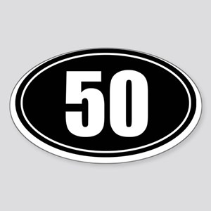 50 mile black oval sticker decal Sticker (Oval)