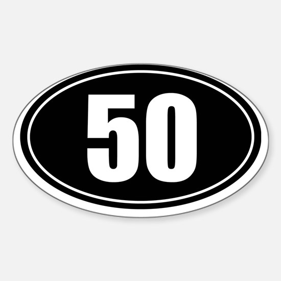 50 mile black oval sticker decal Sticker (Oval)