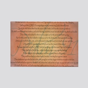 Psalm 91 Orange Script Rectangle Magnet