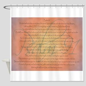 Psalm 91 Orange Script Shower Curtain