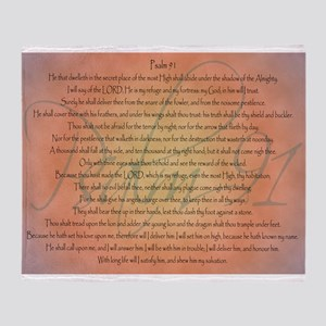 Psalm 91 Orange Script Throw Blanket