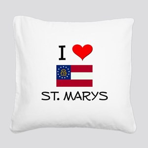 I Love ST. MARYS Georgia Square Canvas Pillow