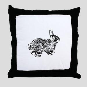 Cottontail Rabbitt (line art) Throw Pillow