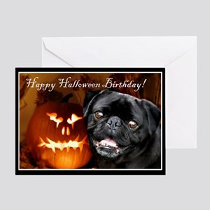 Pug halloween greeting cards cafepress happy halloween birthday pug dog greeting cards bookmarktalkfo Images