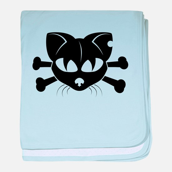 Cat And Crossbones baby blanket