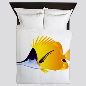 Yellow Longnose Butterflyfish Queen Duvet