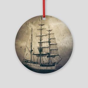 vintage pirate ship landscape Round Ornament