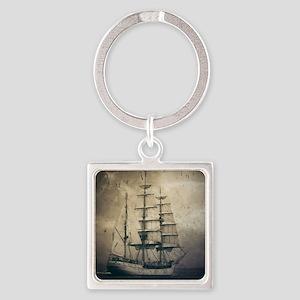 vintage pirate ship landscape Square Keychain