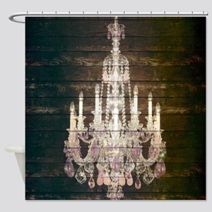 oak chandelier barnwood rustic deco Shower Curtain