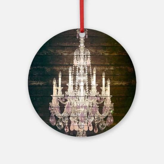 oak chandelier barnwood rustic deco Round Ornament