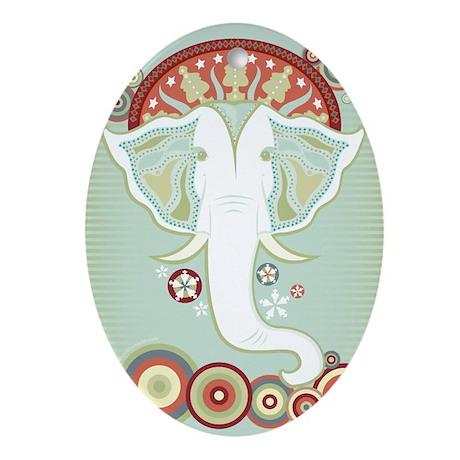 White Elephant Ornament (Oval)