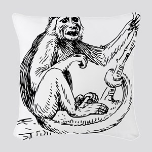 Capuchin Monkey Sketch Woven Throw Pillow