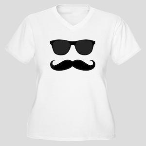Black Mustache and Sunglasses Plus Size T-Shirt