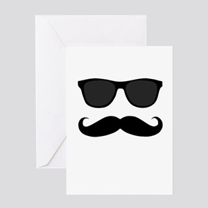 Black Mustache and Sunglasses Greeting Cards