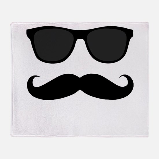 Black Mustache and Sunglasses Throw Blanket