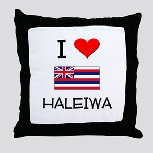 I Love HALEIWA Hawaii Throw Pillow