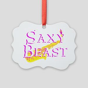Saxy Beast 4 Blk  Picture Ornament