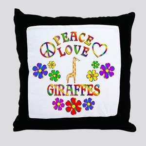 Peace Love Giraffes Throw Pillow