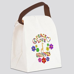 Peace Love Giraffes Canvas Lunch Bag