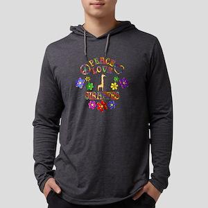 Peace Love Giraffes Mens Hooded Shirt