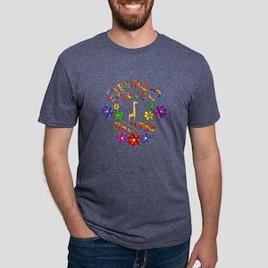 Peace Love Giraffes Mens Tri-blend T-Shirt