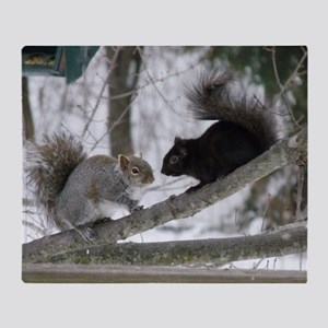 Black and Gray Squirrel Throw Blanket