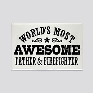 World's Most Awesome Father & Firefighter Rectangl