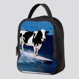 Cow surfing Neoprene Lunch Bag