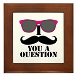 Black Mustache and Sunglasses Framed Tile