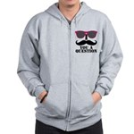 Black Mustache and Sunglasses Zipped Hoody