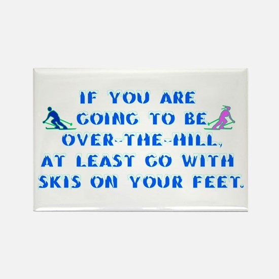 Over the Hill on Skis Rectangle Magnet