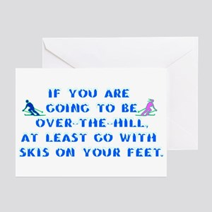 Over the Hill on Skis Greeting Cards (Pk of 10