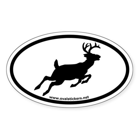 Whitetail Deer Oval Car Sticker