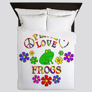 Peace Love Frogs Queen Duvet