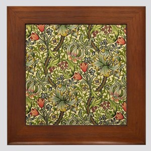Morris Golden Lily Framed Tile