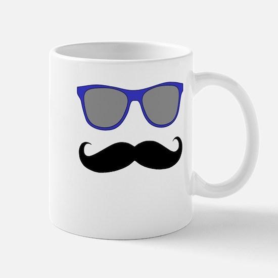 Funny Black Mustache and Blue Sunglasses Mug