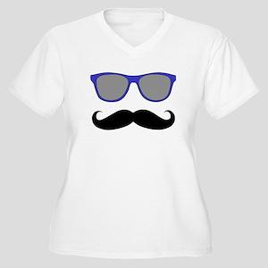 Funny Black Mustache and Blue Sunglasses Women's P
