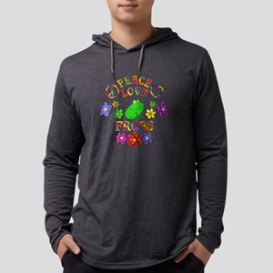 Peace Love Frogs Mens Hooded Shirt